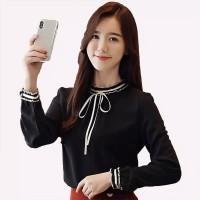 Blus Lengan Panjang Model Korea Pita Leher