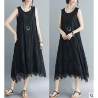 Dress Brukat Cantik Impor Tanpa Lengan Wanita Dewasa Size L&XL