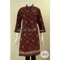 Dress Batik Solo Wanita Model Lengan 7/8 Kancing Depan Size XL DR9496C
