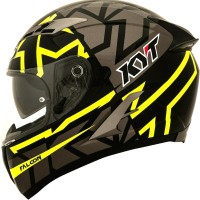 HELM FULLFACE KYT FALCON FASTER BLACK YELLOW FLUO
