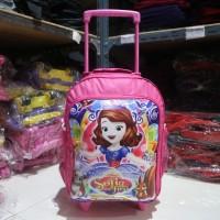 Tas Ransel Dorong / Troli / Trolley Motif Sofia Pink Cewek Perempuan