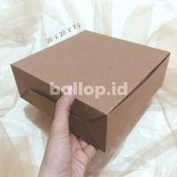 Box Kraft Dus Coklat Dos Kotak Kue Roti Tart Cake Snack 20 x 20 7.5 CM