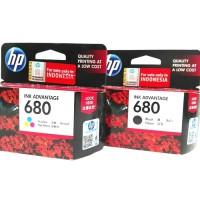 Tinta Printer HP 680 black dan Colour ORIGINAL ink Cartridge