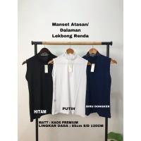 Manset Baju Lekbong Atasan/ Dalaman Wanita Leher Renda Bahan Kaos