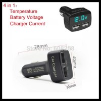 DS WELCOME USB Car Charger 4 In 1 Ampere Voltmeter Temperatur Meter