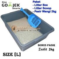 Paket Tempat Kotoran Kucing Litter Box Size L Scoop Pasir Pasir Wangi