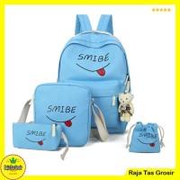 Tas Sekolah Paket / Ransel Anak / Tas Wanita RTG001 Biru Muda 4 in 1