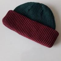 topi kupluk rajut beanie hat 2 warna bolak balik/short beanie hat skat