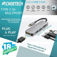 CHOETECH MO8 TYPE C TO 4K HDMI USB 3.0 CARD READER Multiport Converter