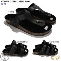 STEXEL CLASSIC Black Sandal Wanita Casual Handmade Premium Original