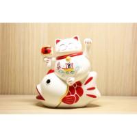 Patung Uk 14cm Kucing Hoki Ikan Lucky Cat Maneki Neko Yuan Bao Rezeki