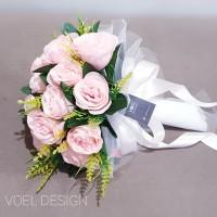 buket pengantin buket bunga handbouquet wedding PINK - pink peach