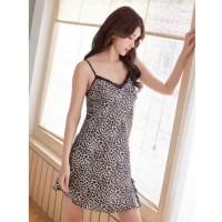Daster Wanita Leopard Baju Tidur 434 Dress Satin Murah Sleepwear Cewek