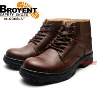 Sepatu Safety Pria Boots Tali Kulit Sapi Cokelat 06