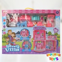 Mainan Rumahan FULL FURNITURE SET LOVELY VILLA +BONEKA DAN RUMAH