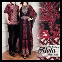 Baju Batik Couple Keluarga Gamis Wanita Couple Alvia Setelan Batik