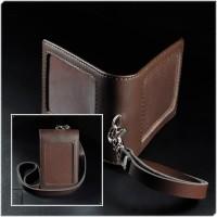 Id Card Holder Magnet Kulit Asli Brown