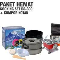 Paket hemat cooking set ds 300 kompor kotak alat masak camping kemah o