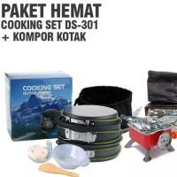 Paket hemat cooking set ds 301 kompor kotak alat masak camping kemah o