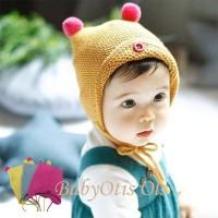 Brim Button Two Pompom Cap Baby Topi Kupluk Anak Bayi Rajut