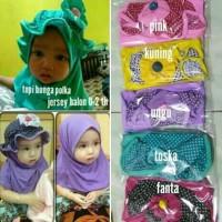 Best Sale Jilbab Anak Topi Bunga Polka/ Hijab Bayi 0-2 Th/Kerudung