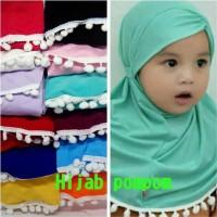 Best Sale Hijab Bayi Anak Renda Pompom Jilbab Bayi Anak Pompom -