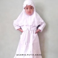 Best Sale (7-10T) Gamis Putih Anak Sd 7-10 Tahun Bahan Dobby Bordir