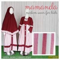 Gamis Set Jilbab Anak Mamanda size M maroon stripe saleha series