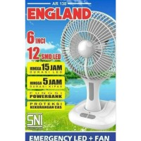 Arashi England Emergency Fan Lampu AR138 Kipas Angin Mini Meja 6inch