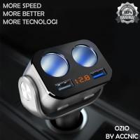 Premium Dual USB Car Charger 2 Port dengan 2 Socket Lighter