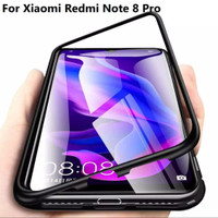 Case Magnet Magnetic Glass Casing Cover Metal Xiaomi Redmi Note 8 Pro - Hitam