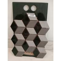 Mozaik / Mozaic Kubus 3d Keramik Lantai / Tangga / Backsplash - Hitam
