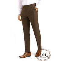 houseofcuff Celana Bahan Kerja Pria Formal Slim Fit coklat trouser - 29