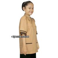 Baju Seragam Sekolah Coklat Pramuka SiagaLengan Pendek. Siswi SD