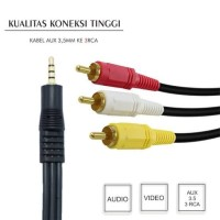 Kabel AUX Audio Video 3.5mm 1 to 3 RCA 1.5 Meter