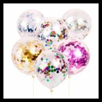 Terlaris!! Balon Premium Transparan + Isi Glitter Gabus Foil Gliter -