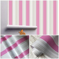 wallpaper sticker dinding Motif Garis Pink & Abu - abu