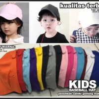 Topi Baseball Anak Basebal Hat Kids Rapel Murah Polos Kualitas Terbaik