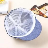 Denim Stripe Baseball Hat Cap Topi Bayi Anak Unisex Motif Garis - Grey