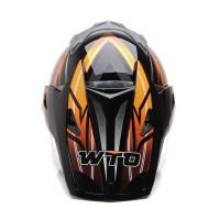Helm Dewasa WTO Helmet Pro-Sight Cross - Hitam Oren Promo Gratis Jarin