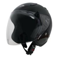 Helm Half Face YCN CR Cargloss Visor Hardcoat - Deep Black