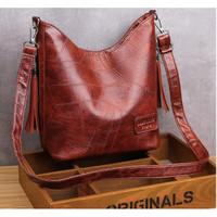 Tas wanita import set tas bahu tas selempang kulit PU tas tote bag 162