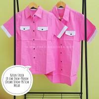 Baju Kemeja Couple Pria Wanita Laki Perempuan Val Day pink