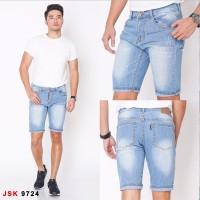 Celana Jeans Pendek Ripped Pria Premium - Biru Jeans, 28