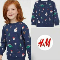 Sweatshirt Anak HnM - Navy Xmas Tree