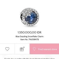 Pandora Blue Dazzling Snowflake Charm