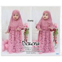 Kids derena Dusty/terusan dress muslim hijab/gamis+bergo brokat mura