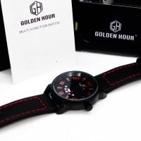 Jam Tangan pria black red Kulit Asli Golden Hour gh-109 jam CnzH530