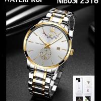 NIBOSI 2318 Silver gold white Jam tangan pria original Elega CnzH94