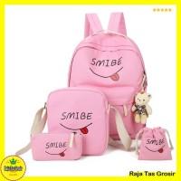 Tas Sekolah Paket / Ransel Anak RTG001 Pink 4 in 1 - Grosir Tas Murah